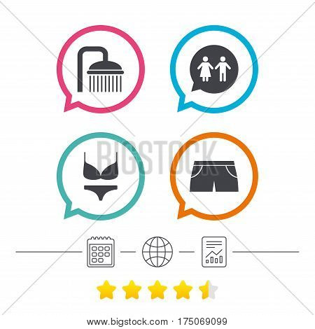 Swimming pool icons. Shower water drops and swimwear symbols. WC Toilet speech bubble sign. Trunks and women underwear. Calendar, internet globe and report linear icons. Star vote ranking. Vector