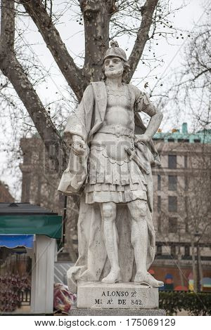 Madrid Spain - february 26 2017: Sculpture of Alonso II King at Plaza de Oriente Madrid. Nicknamed the Chaste was the king of Asturias until 842