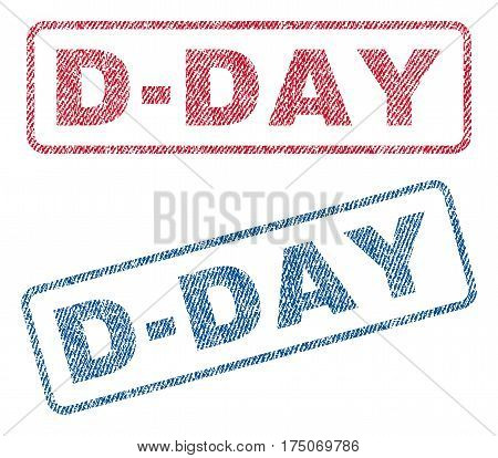 D-Day text textile seal stamp watermarks. Blue red fabric vectorized texture. Vector tag inside rounded rectangular banner. Rubber emblem with fiber textile structure.