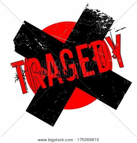 Tragedy rubber stamp. Grunge design with dust scratches. Effects can be easily removed for a clean, crisp look. Color is easily changed.