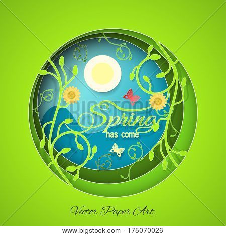 Multilayered Spring has come vector poster in style of the paper art carve on the gradient sunny blue and green background with floral pattern sun butterflies and flowers.