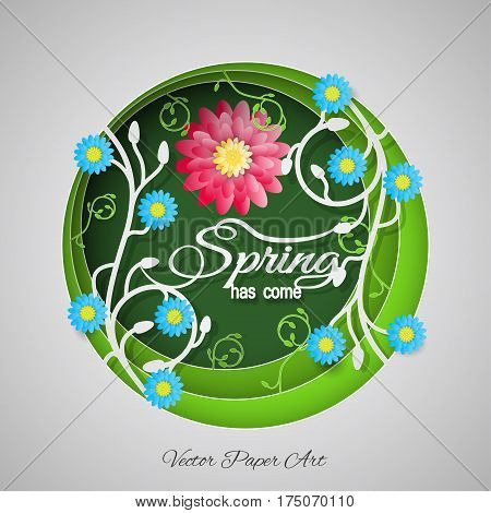 Multilayered Spring has come vector paper art poster on the gradient green background with floral pattern text and blue and red flowers.