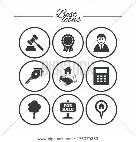 Real estate, auction icons. Handshake, for sale and calculator signs. Key, tree and award medal symbols. Classic simple flat icons. Vector