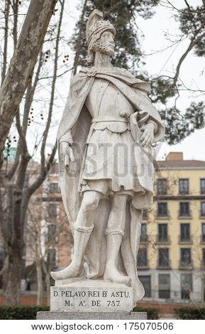 Madrid Spain - february 26 2017: Sculpture of Pelagius of Asturias Madrid. He founded the Kingdom of Asturias