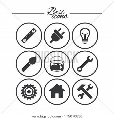 Repair, construction icons. Hammer, wrench tool and cogwheel signs. Electric plug, lamp and house symbols. Classic simple flat icons. Vector