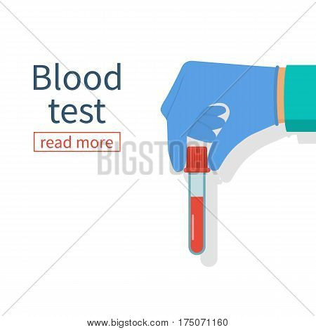 Doctor hold hand sample blood in test tube, isolated. Medical background. Laboratory research. Vector illustration flat design. Equipment for analysis. Blood donation.