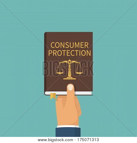 Consumer protection. A law book hold in the hands of the customer. Vector illustration flat design. Isolated on background. legislation.  Study of law, rights.