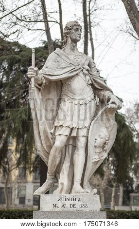 Madrid Spain - february 26 2017: Sculpture of Suintila at Plaza de Oriente Madrid. He was a Visigothic King of Hispania Septimania and Galicia from 621 to 631