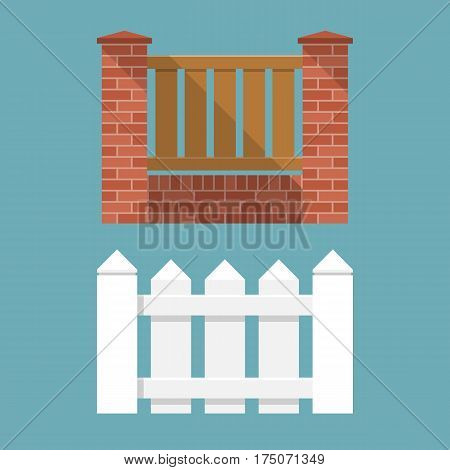 White wooden fence and brick fence with wooden picket. Elements of design for web and mobile applications. Vector illustration flat design. Isolated on background. Easy to edit.