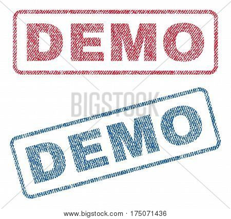 Demo text textile seal stamp watermarks. Blue red fabric vectorized texture. Vector tag inside rounded rectangular banner. Rubber sign with fiber textile structure.