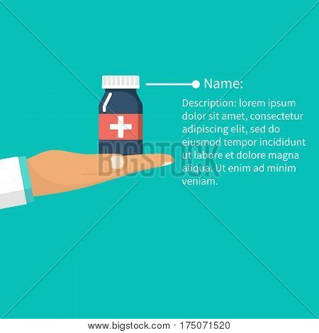 Man holding bottle of pills in hand.  Read instructions medicines. Vector illustration flat design. Guidelines for treatment and use. Important information template. Manual medical.