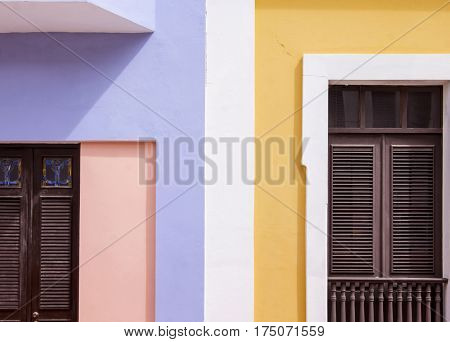 Multi colored houses in Puerto Rico in the caribbean ocean