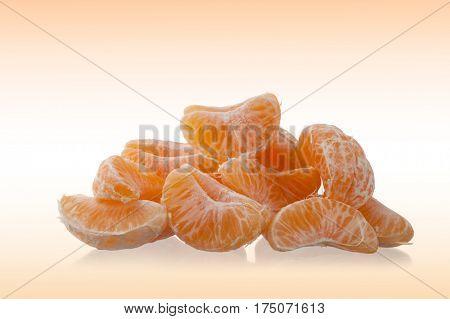 Orange, mandarin, tangerine citrus fruit isolated on abstract background
