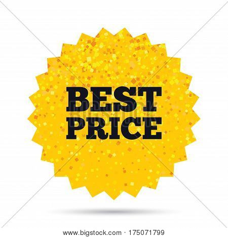 Gold glitter web button. Best price sign icon. Special offer symbol. Rich glamour star design. Vector