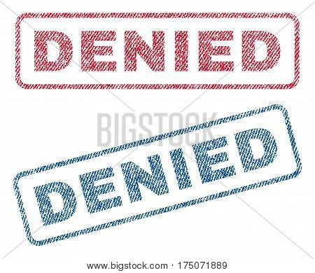 Denied text textile seal stamp watermarks. Blue red fabric vectorized texture. Vector caption inside rounded rectangular shape. Rubber sign with fiber textile structure.