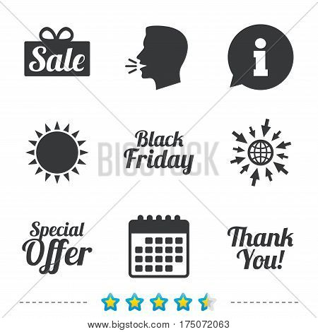 Sale icons. Special offer and thank you symbols. Gift box sign. Information, go to web and calendar icons. Sun and loud speak symbol. Vector