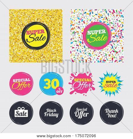 Gold glitter and confetti backgrounds. Covers, posters and flyers design. Sale icons. Special offer and thank you symbols. Gift box sign. Sale banners. Special offer splash. Vector
