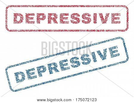 Depressive text textile seal stamp watermarks. Blue red fabric vectorized texture. Vector caption inside rounded rectangular banner. Rubber sign with fiber textile structure.