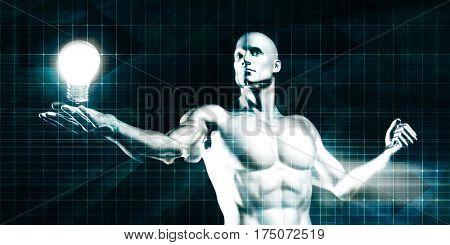 Englightened Man Holding a Light Bulb on Tech Background 3D Illustration Render