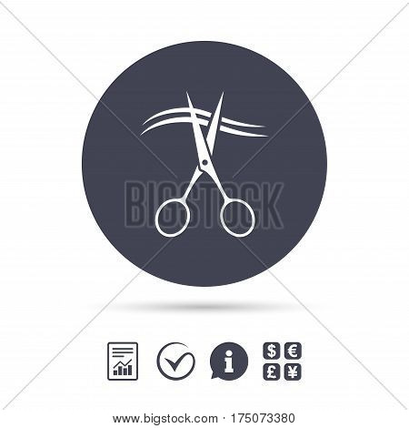 Scissors cut hair sign icon. Hairdresser or barbershop symbol. Report document, information and check tick icons. Currency exchange. Vector