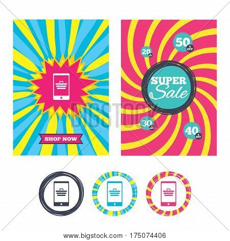 Sale banners and labels. Special offer tags. Smartphone with shopping cart sign icon. Online buying symbol. Colored web buttons. Vector