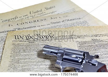 Us Constitution Historical Documents With Pistol