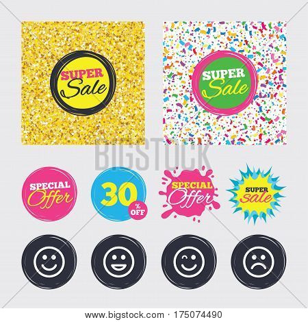 Gold glitter and confetti backgrounds. Covers, posters and flyers design. Smile icons. Happy, sad and wink faces symbol. Laughing lol smiley signs. Sale banners. Special offer splash. Vector