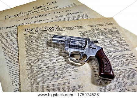 Us Constitution Historical Documents With Revolver