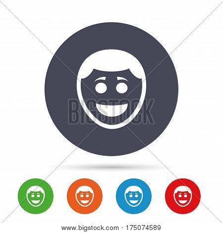 Smile face sign icon. Happy smiley with hairstyle chat symbol. Round colourful buttons with flat icons. Vector