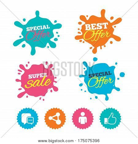 Best offer and sale splash banners. Social media icons. Chat speech bubble and Share link symbols. Like thumb up finger sign. Human person profile. Web shopping labels. Vector