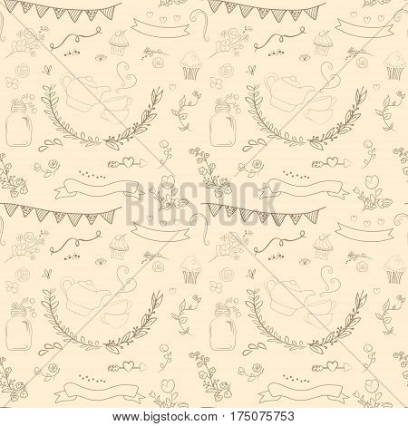 Vintage romantic set in vector. Stylish romantic elements for party. Chalkboard background. Ideal for set designs of celebration