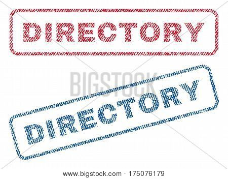 Directory text textile seal stamp watermarks. Blue, red fabric vectorized texture. Vector tag inside rounded rectangular banner. Rubber sign with fiber textile structure.