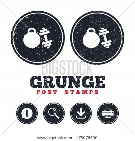 Grunge post stamps. Dumbbell with kettlebell sign icon. Fitness sport symbol. Gym workout equipment. Information, download and printer signs. Aged texture web buttons. Vector