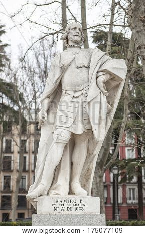 Madrid Spain - february 26 2017: Sculpture of Ramiro I of Aragon at Plaza de Oriente Madrid. He was the first King of Aragon 1007-1063