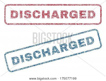 Discharged text textile seal stamp watermarks. Blue, red fabric vectorized texture. Vector tag inside rounded rectangular shape. Rubber emblem with fiber textile structure.