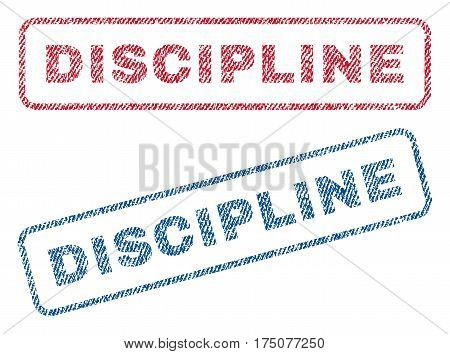 Discipline text textile seal stamp watermarks. Blue, red fabric vectorized texture. Vector caption inside rounded rectangular shape. Rubber emblem with fiber textile structure.