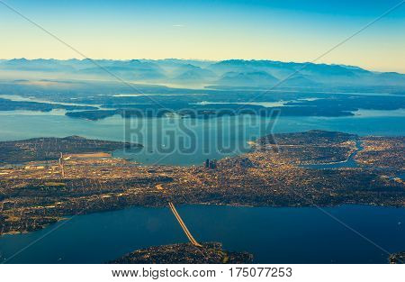 Aerial view of Seattle Puget Sound and the Olympic range to the west
