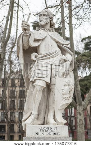 Madrid Spain - february 26 2017: Sculpture of Alfonso V King at Plaza de Oriente Madrid. He was King of Leon 999 to 1028