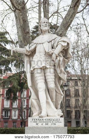 Madrid Spain - february 26 2017: Sculpture of Fernan Gonzalez of Castile at Plaza de Oriente Madrid. He was the first autonomous count of Castile died 970