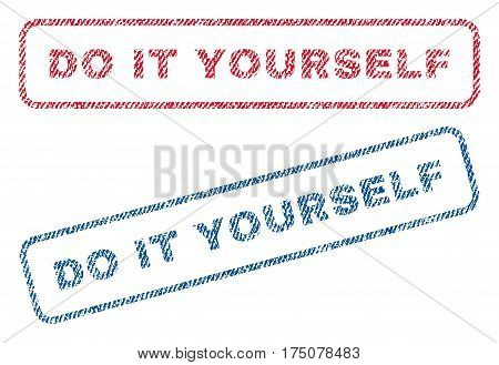 Do It Yourself text textile seal stamp watermarks. Blue, red fabric vectorized texture. Vector caption inside rounded rectangular shape. Rubber sign with fiber textile structure.