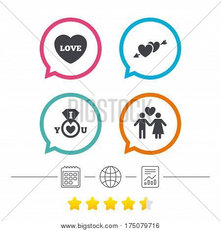 Valentine day love icons. I love you ring symbol. Couple lovers sign. Calendar, internet globe and report linear icons. Star vote ranking. Vector