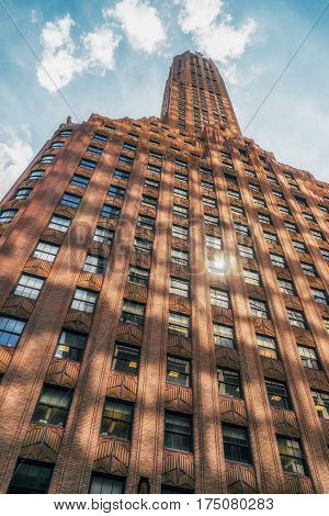 NEW YORK CITY, USA - AUGUST 15, 2016: The General Electric Building, also known as 570 Lexington Avenue, is a historic 50-floor, 640-foot (200 m)-tall, skyscraper in Midtown Manhattan.