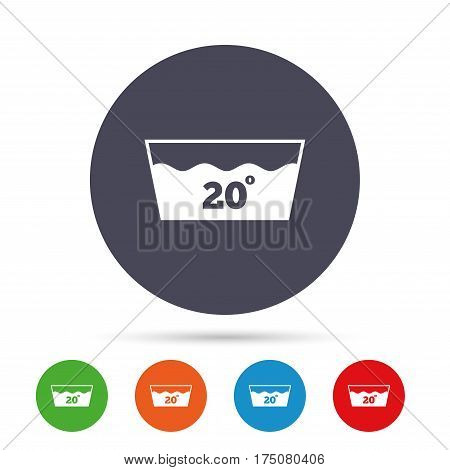 Wash icon. Machine washable at 20 degrees symbol. Round colourful buttons with flat icons. Vector