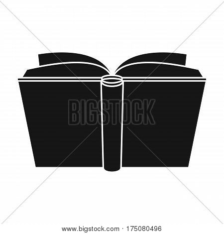 Blue opened book icon in black design isolated on white background. Books symbol stock vector illustration.