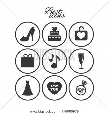 Wedding, engagement icons. Cake with heart, gift box and brilliant signs. Dress, shoes and musical notes symbols. Classic simple flat icons. Vector