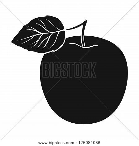 Green Apple with leaf.Proper diet for diabetes.Diabetes single icon in black style vector symbol stock web illustration.