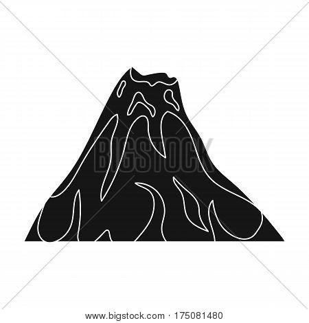 A fiery volcano.A mountain in which there is a volcanic eruption.Different mountains single icon in black style vector symbol stock web illustration.