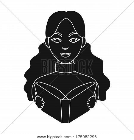 Librarian icon in black design isolated on white background. Library and bookstore symbol stock vector illustration.