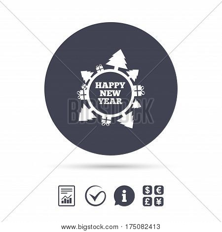 Happy new year globe sign icon. Gifts and trees symbol. Full rotation 360. Report document, information and check tick icons. Currency exchange. Vector