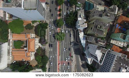 Top View of Consolacao Avenue in Sao Paulo, Brazil